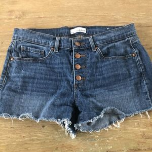 LOFT Button Fly Distessed High Rise Jean Shorts 28
